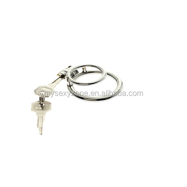 Stainless steel double penis ring Male Chastity device Cock ring BDSM Fetish CBT MKR934