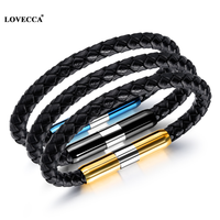 High end Genuine leather bracelet new high performance technology massage vibrator bracelet
