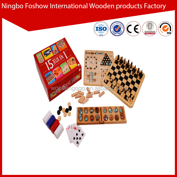 wooden 10 in 1 combined bingo game set chess