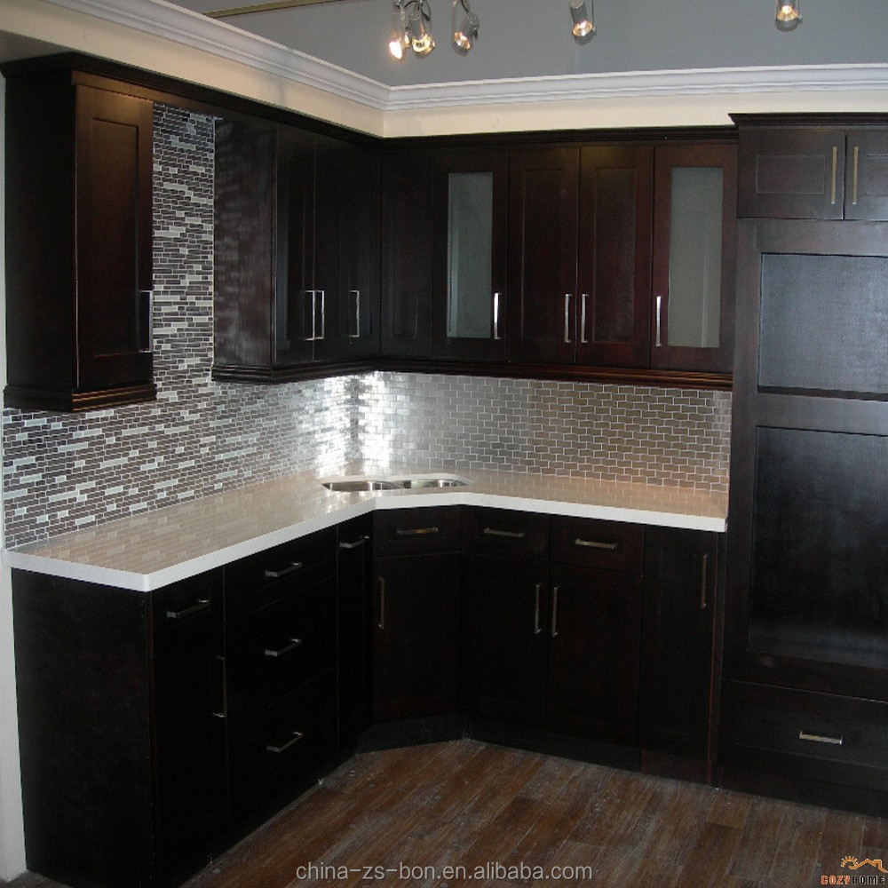 Foshan Factory Hot Selling Espresso Shaker solid wood Kitchen Cabinet With Granite Countertop and sink
