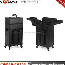 Professional rolling makeup trolley case with lights bluetooth speakers Portable makeup case