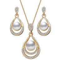 Fashion Oval Gold Women Pearl Jewelry Set Necklace Set Designs NSDR-0046