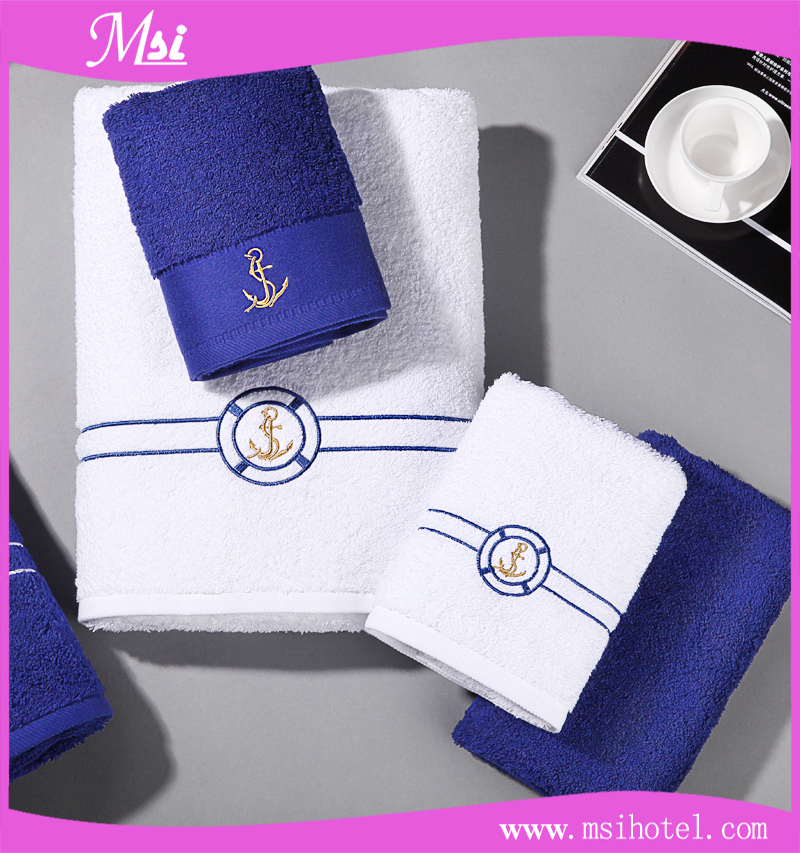 Customized 100% Cotton Luxury Vacation Hotel Face Towel with Jacquard Logo