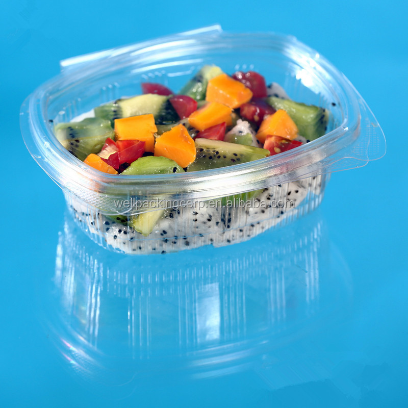 Free Sample Disposable Plastic Salad and Food Packing Box with Clear hinged lid