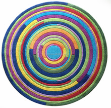 Acrylic printed carpet with carving, colorful circle children room carpet