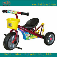 steel kids tricycle with pedals and basket