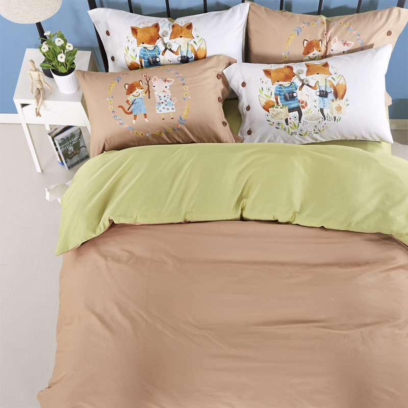 Hot selling 100% cotton adult cartoon high quality digital printed 4pcs bedding set