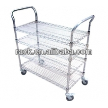 Zhong Shan 4 Tiers Adjustable Handcart Mesh Trolley,NSF Approval