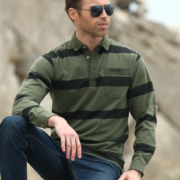 MS70177G Fancy men's long sleeve striped polo t-shirts 95 cotton 5 elastane t-shirt