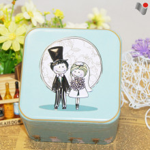 High quality square open top candy tin cans