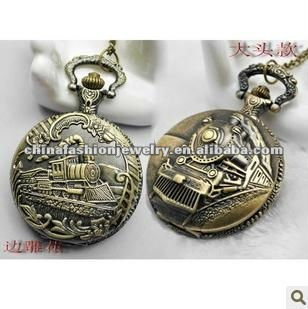Retro Train Unique Pocket Watch Necklaces