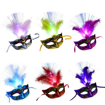 Party Feather LED Masks Mardi Gras Masquerade Mask for Cosplay Fancy Dress Party