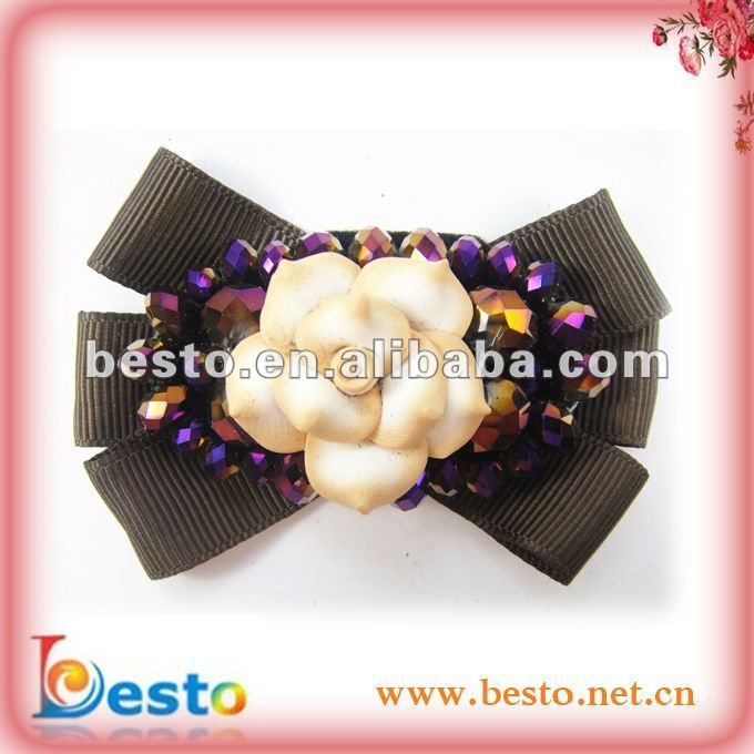 SF0083 Fashion removable women soft faience rose flower center bow glass bead shoe clips