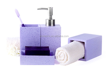 Fashion SBA Series Sesame Stone/Marble Surface 4-Piece Environmental Resin Bathroom Accessory Set, Colorful Collection