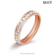 DAICY cheap wholesale stainless steel rose gold diamond band ring women