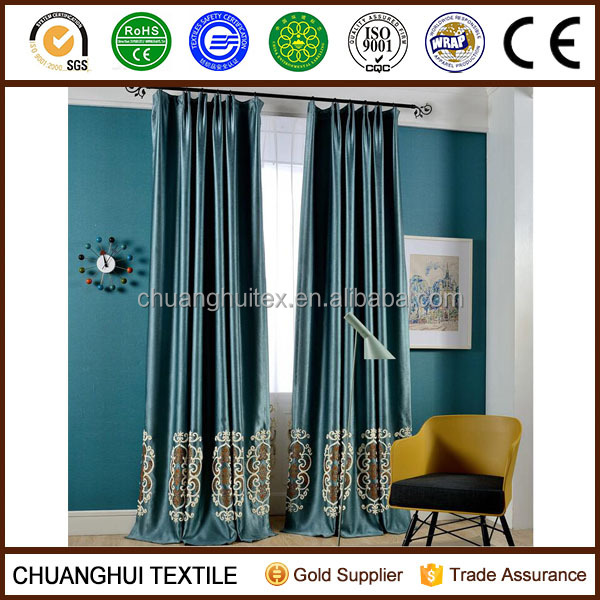 3d embroidered blackout european style window curtains