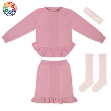 Boutique Pink Girls Skirt Sweater Long Sleeve Baby Winter Clothes Set Knitted New Design Girl Sweater