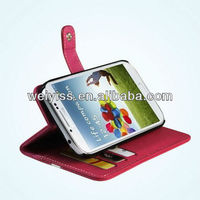 Hot Pink Premium Leather Wallet Case Stand Pouch for Galaxy S4