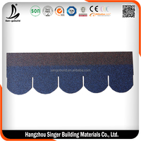 Fish-scale Asphalt Shingles Round Red Roofing Shingles Price Blue Bitumen Roof Tiles