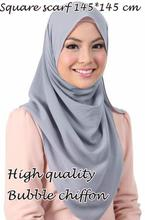 High quality square size bubble chiffon shawls hijab summer nice headband wrap muslim kerchief 20 color scarves/scarf 145*145cm