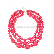 Hot pick faceted stone triple layer statement necklace fashion design rhinestone necklace jewelry