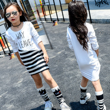 baby clothing set little girls korean kids clothes wholesale denim Striped T-Shirt fashionable stripe fleece baby clothing set