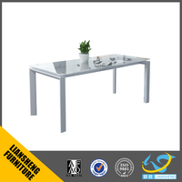 White aluminum frame glass conference table