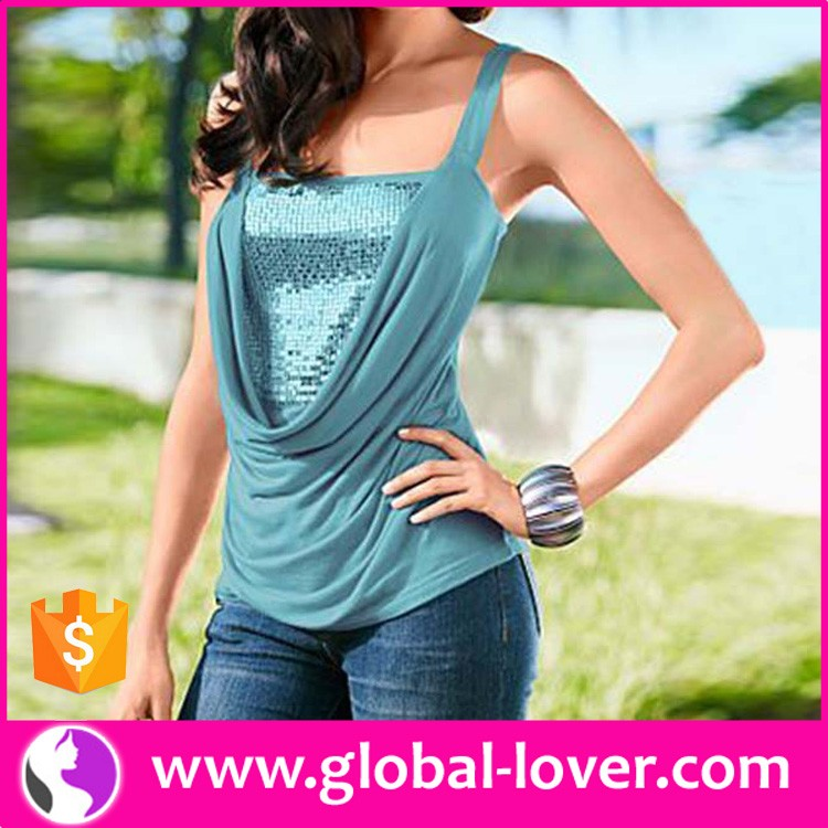 wholesale summer new design plain color formal fancy beaded women tank top
