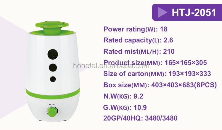 Original 2.6L nebulizer No Noise OEM/ODM certification big capacity adjustable mist volume ultrasonic fog the humidifiers