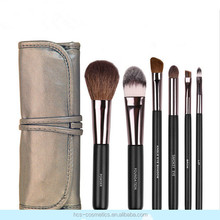 6-piece Goat Hair Cosmetic Brush Set, Horse Hair Eye Shadow Brush, Travel Size Pouch