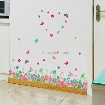 Flower Design Waterproof Decorative Butterfly Wall Decal Sticker For Furniture Living Room