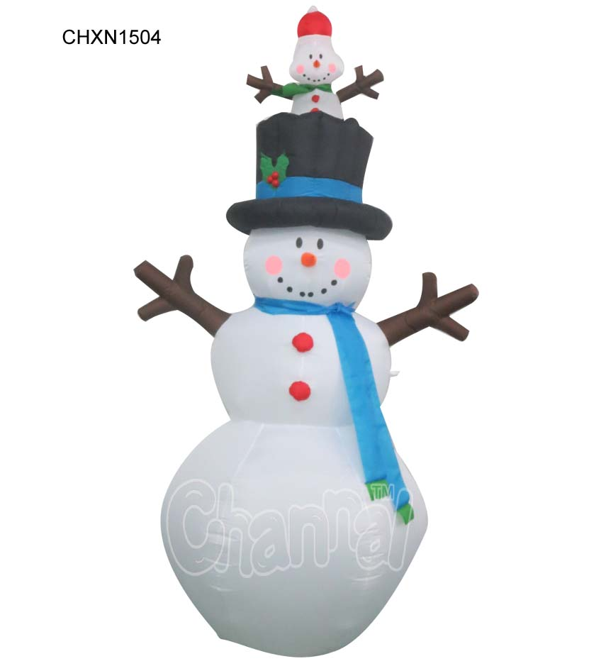 Winter Snowtime Illuminated Inflatable Snowman Merry Christmas Decoration