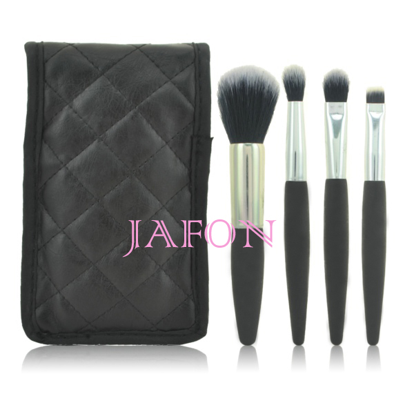 Synthetic hair 6pcs travel makeup brush set with snake pattern pouch