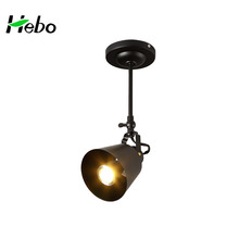 Industrial Single Head Led Pendant Light, Wrought Iron Black Painted Droplight