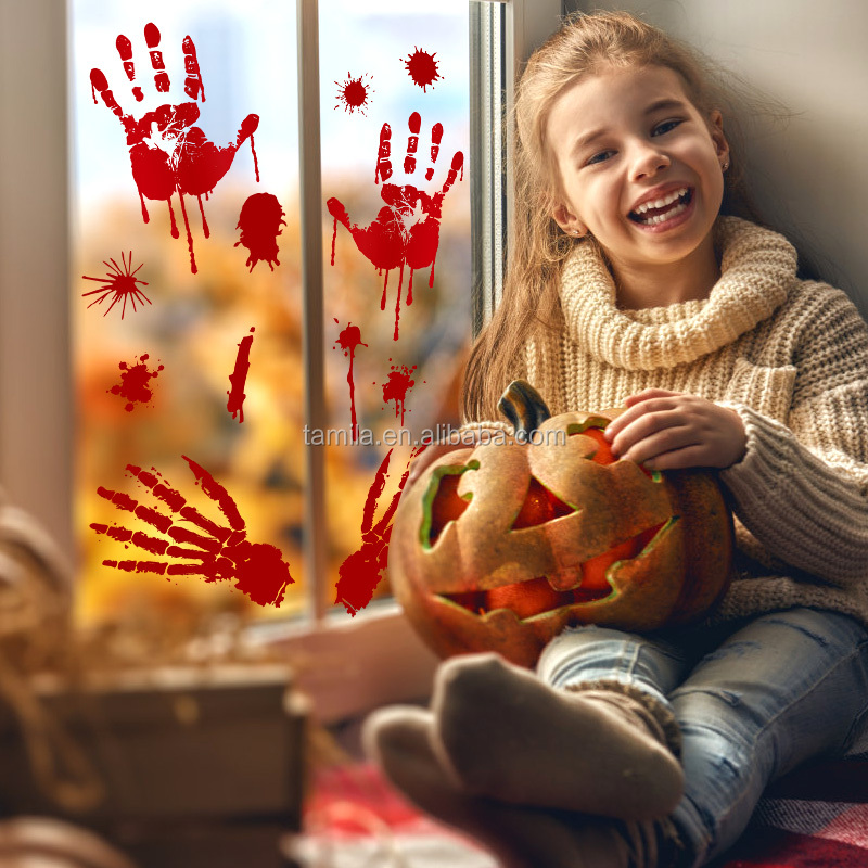 Removable PVC kids room Halloween horrible blood palm wall sticker for home decoration