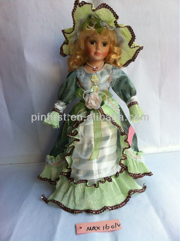 Ceramic Face Red Lace Dress Collectible Dolls