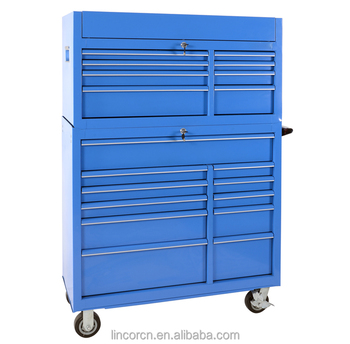 56 Inches 19 drawers Blue durable workshop Iron rolling Tool trolley cabinet work bench