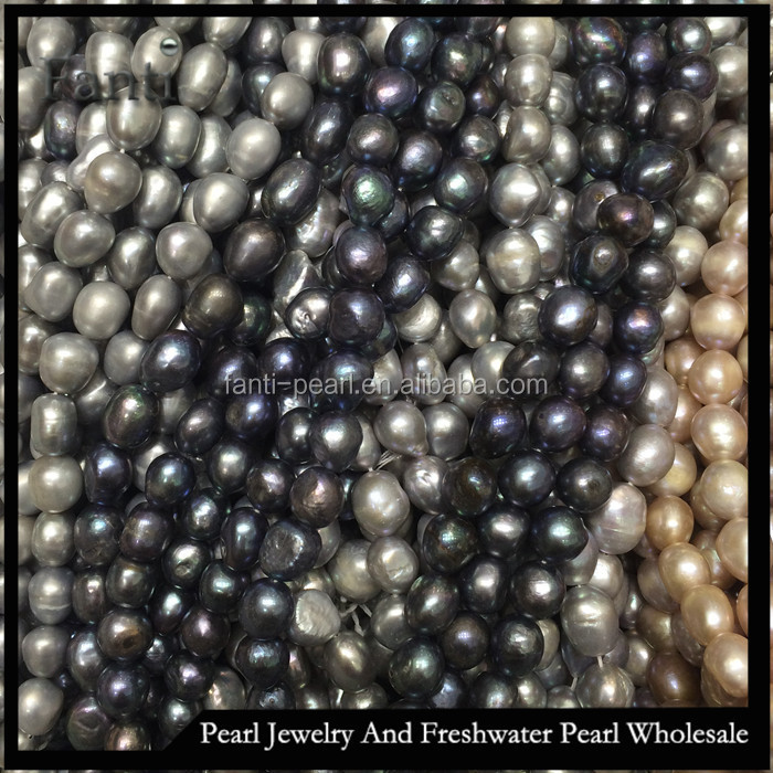 baroque pearl necklace 12mm large Natural pearl price with grey color good lustre can drill 2.5mm large hole