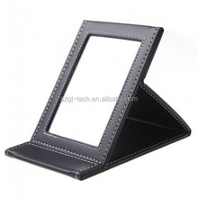customized three folding leather stand table mirror