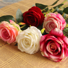 Single wholesale artificial rose flowers for wedding decoration