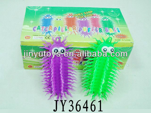 Funny flashing soft caterpillar puffer ball toy
