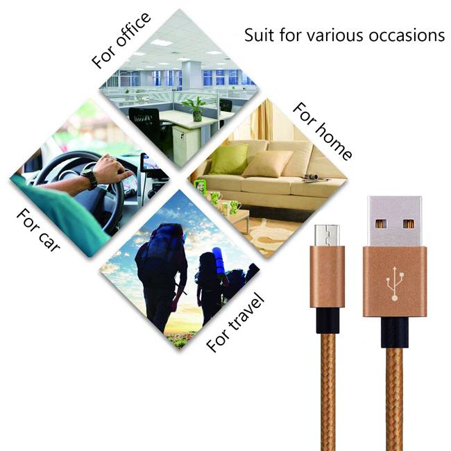 Aluminum alloy USB-MICRO2.0 High speed charging/SYNC Cable Nylon wire with 3ft 6ft 10ft