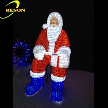 Hot sale christmas ornament 3d acrylic santa claus for christmas decoration, led lighted santa claus