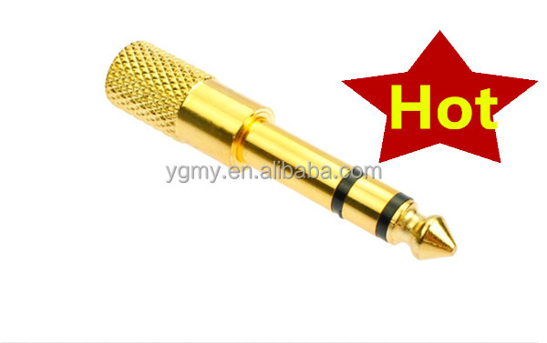 "6.5mm 1/4"" Male to 1/8"" 3.5mm Jack Stereo Microphone Headphone Audio Adapter Male to Female Gold"