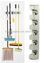 Plastic Wall Mounted 5 Position Kitchen Storage Mop Broom Organizer Holder Tool