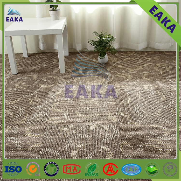 EAKA hot sell patternd modern fireproof and waterproof pp durable pvc backing removable best prices commercial carpet tiles