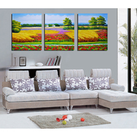 Beautiful village scenery oil painting on canvas for wall decoration