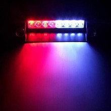 Red to Blue Car Police Strobe Flash Light 8 LED Lamp 8LED Dash Visor Strobe Flash Emergency Warning Light 12V