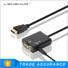 Hot selling hdmi A male to VGA female cable with conventer for TV and PC