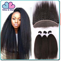 6A quality kinky straight virgin hair bundles with lace closure coarse yaki human Indian hair weave bundles